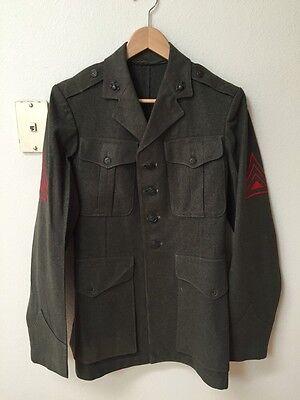 WW2 WWII US Marine Corps Green Wool Dress Coat Jacket W/ EGA Uniform Insignia