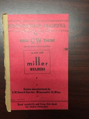Onan Very Engine Miller Welders Instruction Manual 245a And 251a