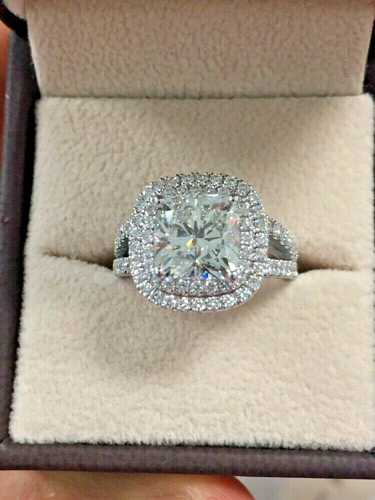 1.90 tcw Natural Cushion Double Halo Split Shank Pave Diamond Ring - G-VS2 GIA