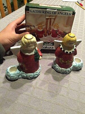 BARELY USED Sakura Gathering Of Angels Earthenware Candle Holders