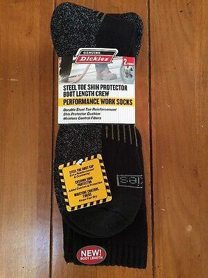 New NWT Pair Of 2 Dickies Premium Steel Toe Boot Length Work Socks BLACK Sz 6-12