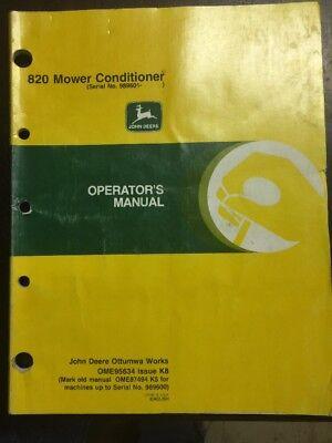 JOHN DEERE 820 MOWER-CONDITIONERS OPER MANUAL