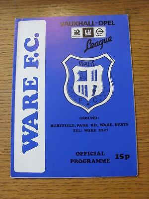 27/10/1987 Ware v Bishops Stortford [East Anglian Cup]  (Item has no apparent fa