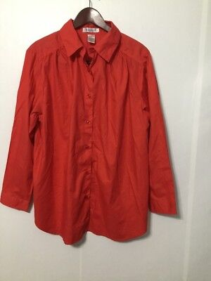 Roaman S Womens Blouse Red Button Front Career Size M Nwot