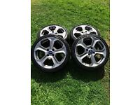 "Fiesta ST 17"" inch Wheels, alloys, MK7, ST 180, set of 4, Fit RS, Cosworth, Focus, Bridgestone tyres"