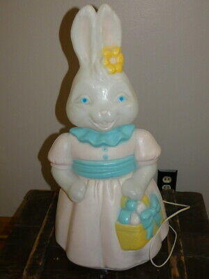 Vintage Christmas Empire Carolina Enterprise Lighted Blow Mold Mrs Easter Bunny