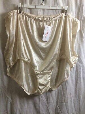Vintage Teri Lingerie Sheer Nylon Hi Waist Shiny Beige Panties Briefs Size16 NWT
