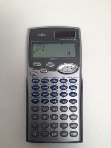 ATIVA 2-LINE DISPLAY SCIENTIFIC CALCULATOR AT-36 TESTED AND WORKS GREAT