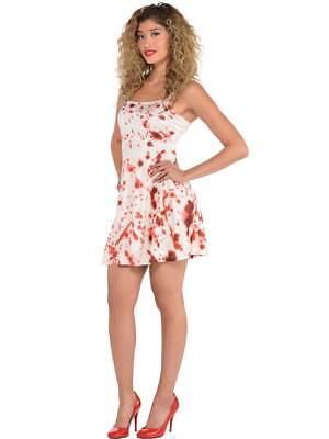 Womens Bloody Dress Splatter Fancy Dress Costume Adult Halloween Horror Zombie