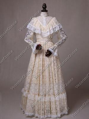 Victorian Edwardian Ivory Vintage Lace Wedding Dress Bridal Gown Theater 392 M
