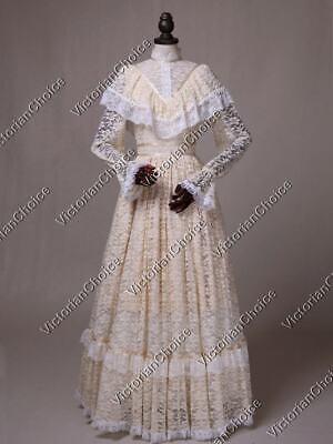 Victorian Edwardian Ivory Vintage Wedding Dress Bridal Halloween Costume 392 XXL