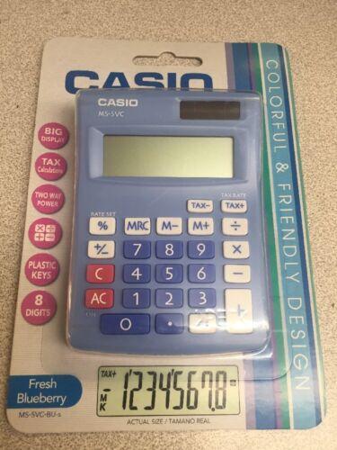 Casio Electronic Calculator MS-5VC-BU 8-Digit BIG LCD Plastic  FRESH BLUEBERRY