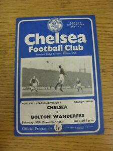 30-11-1963-Chelsea-v-Bolton-Wanderers-Creased-Folded-Worn-Good-condition-u