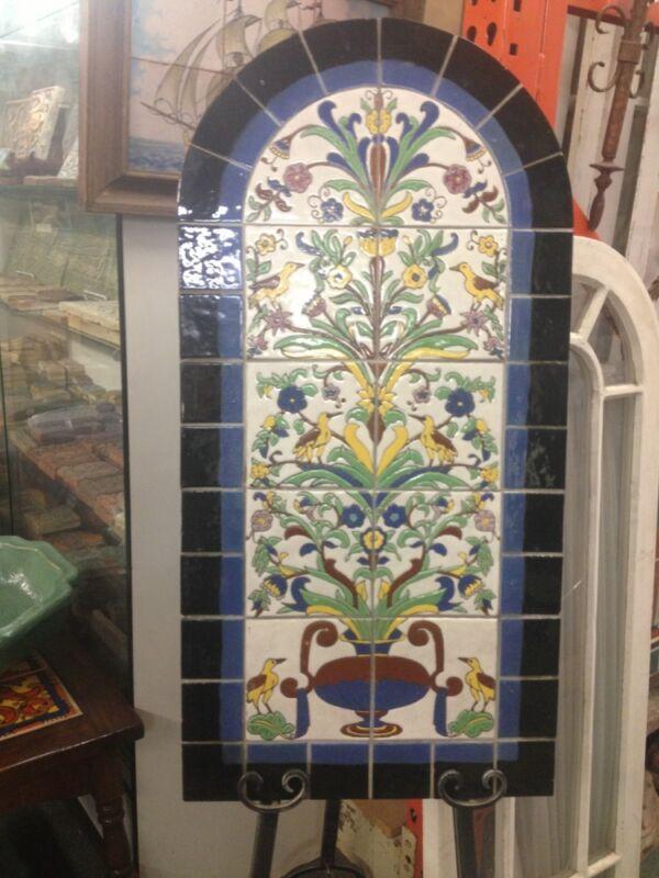 Antique Old Original Malibu Tile Mural California Catalina Batchelder Era