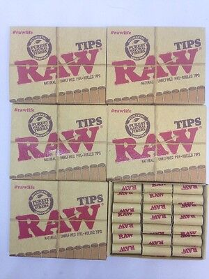 5 pack RAW Natural Unrefined Pre-Rolled Tips 21 Tips /box 105 Tips