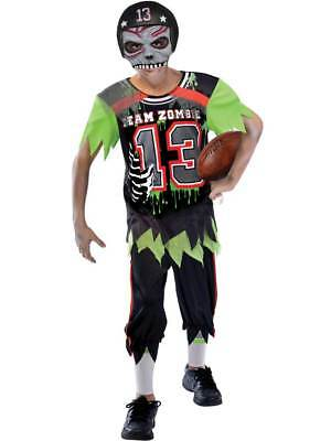 Childs Zombie Football Player Fancy Dress Costume Boys American Sport - Football Zombie