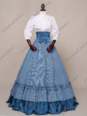 Victorian Dickens Plaid Southern Belle Gown Dress Reenactment Theater Wear K001 ()