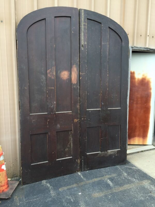 D 142 One Pair Antique Poplar  Arch Double Doors