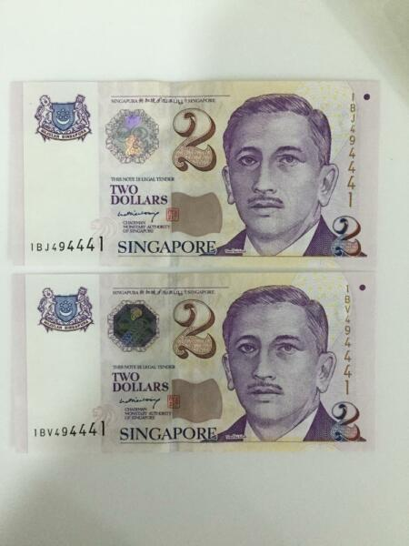 $2 notes with same serial numbers. Rare!!!!!