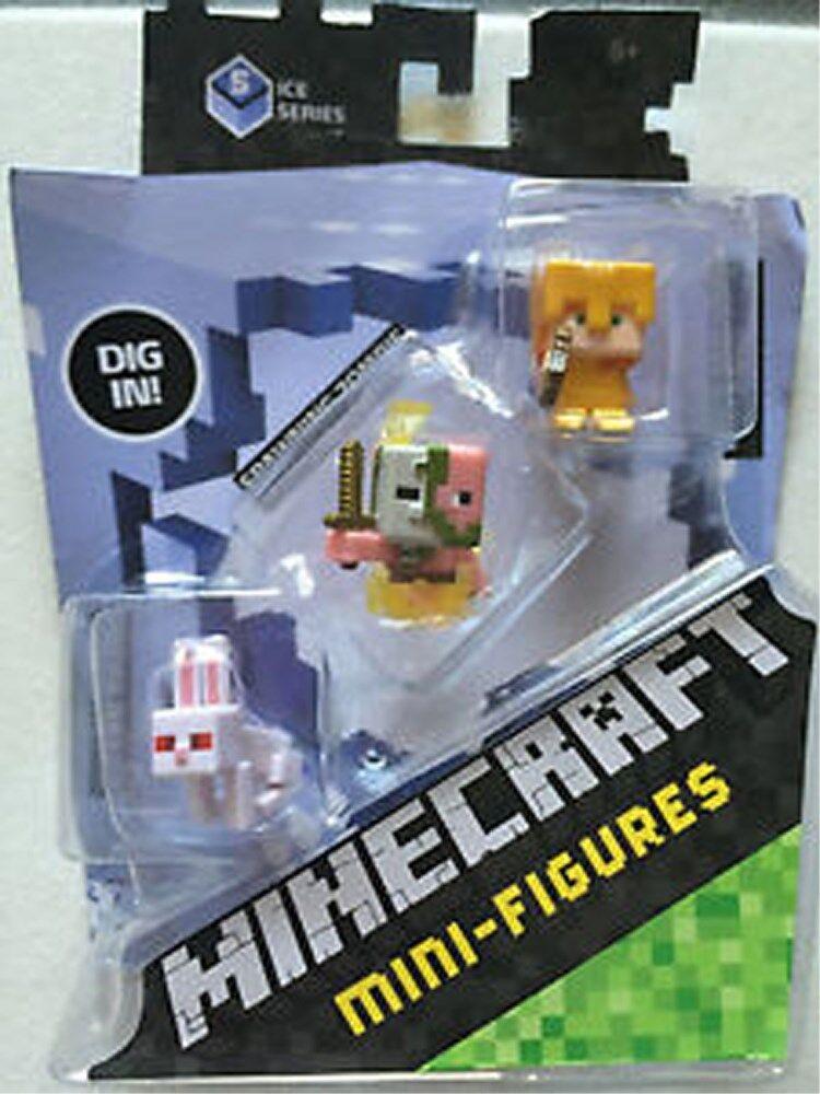 Minecraft Mini Figure 3-Pack Alex with Gold Armor Killer Rabbit Spawning Zombie