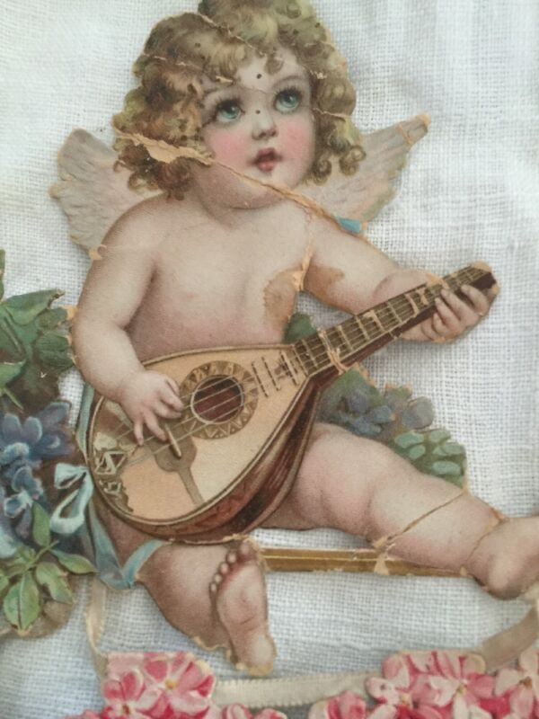 Rare Antique Large Valentine Angel Cupid On Swing Flowers Hearts