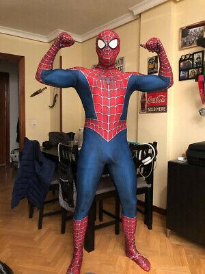 Childrens Spiderman Costumes (Kids & Adult Classic Raimi Spiderman 3D Print Zentai Cosplay Costume Lycra Suit)