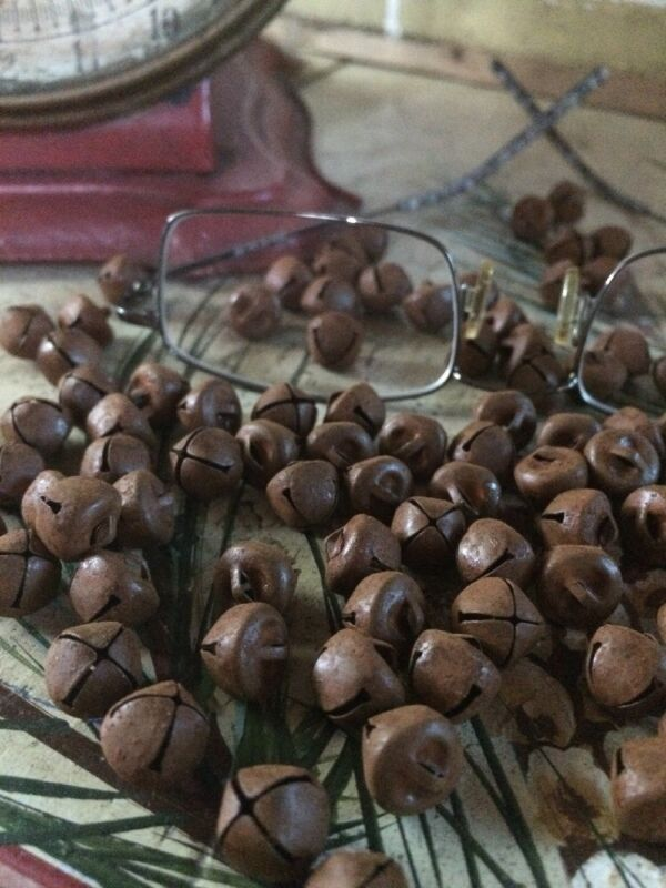"""(144) Primitive Rusty Tin JINGLE BELLS 10mm 3/8 in 3/8"""" Christmas Crafts"""