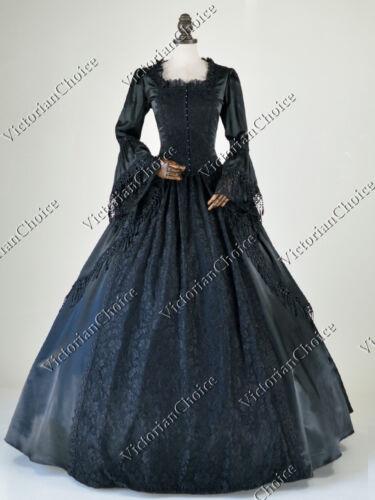 Renaissance Marie Antoinette Black Masquerade Gown Dress Steampunk Clothing 142