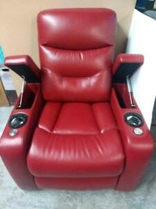Picket House   Saturn  2-Arm Leather Gel Power Recliner Home Theatre Seating - Red (new other)  (Assembled)