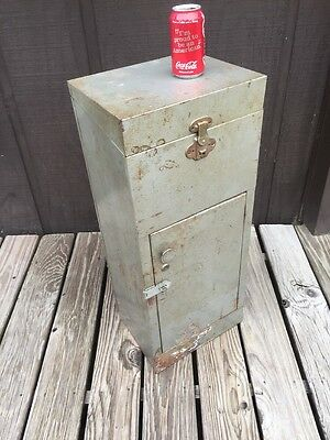 Vtg 1950's Leaden Metal Locking File Storage Cabinet Industrial Steampunk