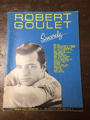 Music Book ROBERT GOULET SINCERELY 1963 Song Book Vintage Songs