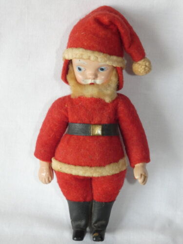Vintage Christmas Hard Plastic Cotton Santa Claus with Chenille Beard 5-3/8""