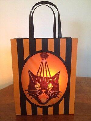 Bethany Lowe Halloween Sassy Cat Tin Bag Lantern--Votive Included—retired