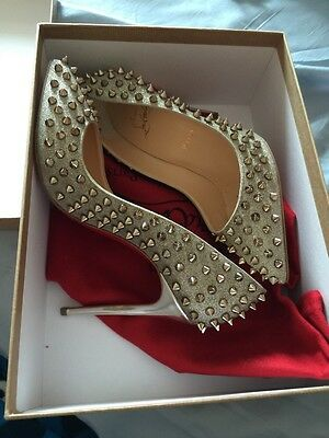 New Christian Louboutin Follies Spikes 100 Glitter  7.5 Sold Out Limited Edition