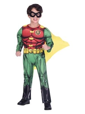 Child Robin Costume (Child Robin Fancy Dress Superhero Batman Costume DC Comic Book Day Boys)