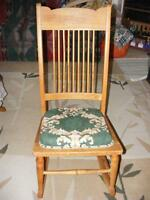 HARDWOOD HIGH BACK ROCKING CHAIR WITH PADDED SEAT