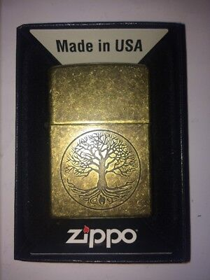 Zippo Tree Of Life Antique Brass Lighter - Brand New!