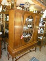 ANTIQUE BURL WALNUT CHINA CABINET