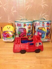Mega Blocks Bundle - 140 pcs + FREE fire truck