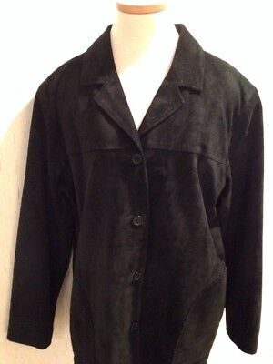 DIALOGUE Black Suede washable Jacket Ms Size L Large 12 14 EUC