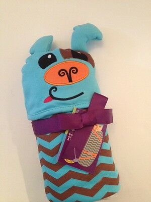 SOZO Baby Boy Swaddle Blanket Cap Hat Layette Teal Blue Brown Chevron Puppy - Layette Hat Cap