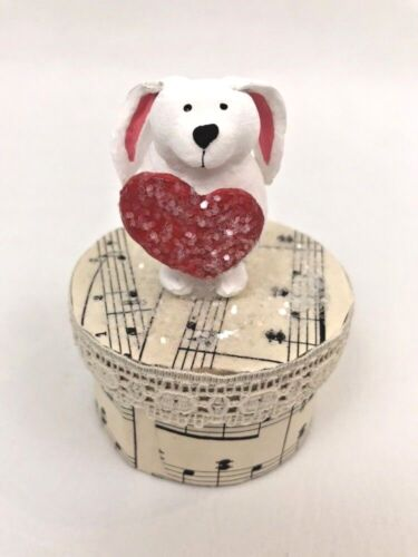 Bethany Lowe Valentine Box Bunny w/ Heart Musical Notes