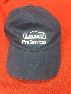 Navy Blue Lowes Hardware Pro Services Embroidered Baseball Hat Cap Adjustable