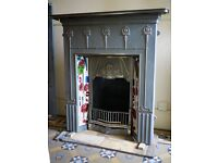 """Full cast iron 42"""" fireplace in an Art Nouveau design by The Gallery. Ideal for period interiors."""