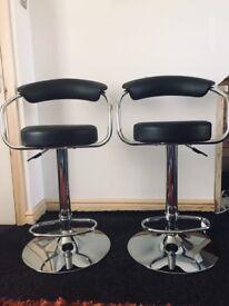 Leather black stool ( as pair )