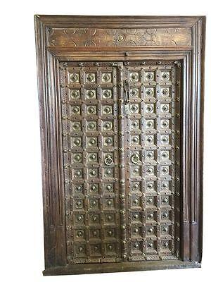 ANTIQUE GOTHIC MEDIEVAL DOORS BRASS CARVED INDIAN CASTLE TEAK WOOD DOUBLE DOORS 3699.00  sc 1 st  eBay & INDIAN ANTIQUE HAVELI DOORS   eBay pezcame.com