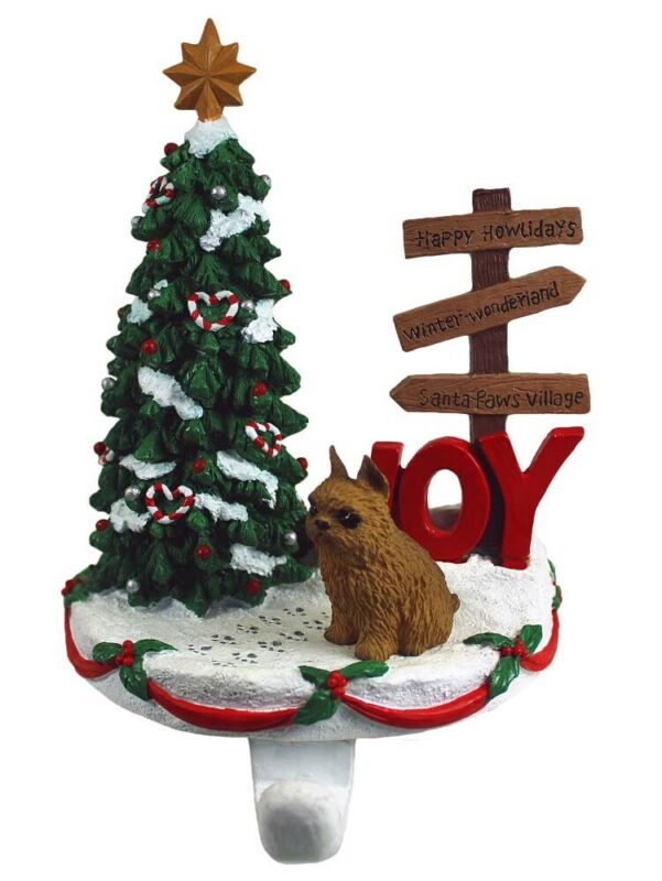 Brussels Griffon Stocking Holder Hanger Red