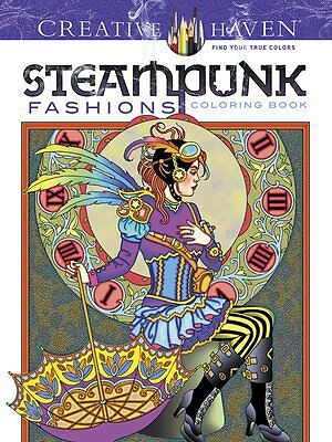 Relax Creative Steampunk Fashions Designs Art Coloring Book Adult Stress Relief