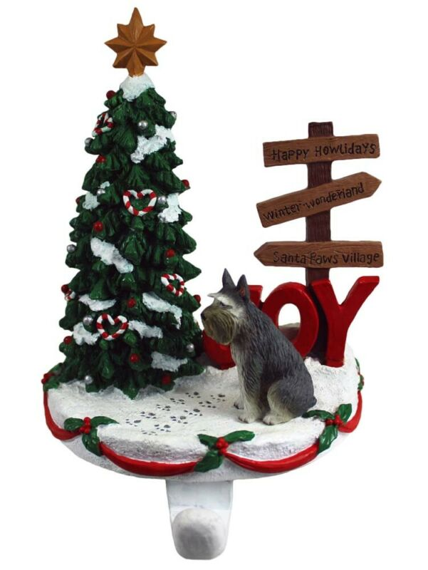 Schnauzer Stocking Holder Hanger Gray Giant