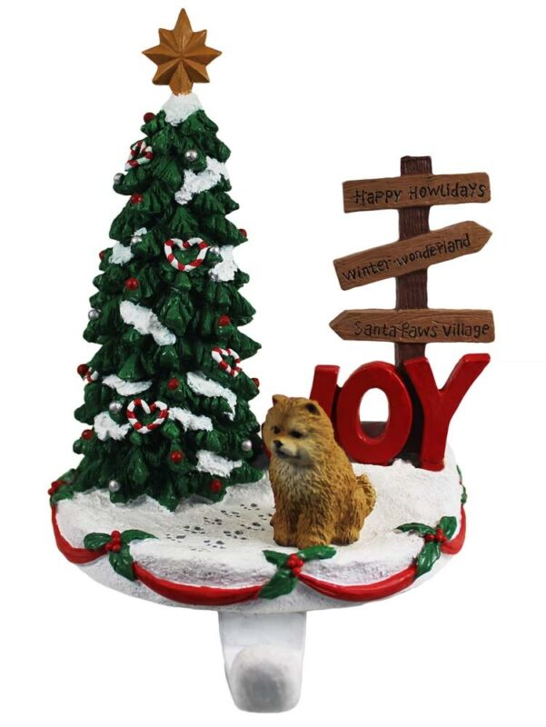 Chow Chow Stocking Holder Hanger Red